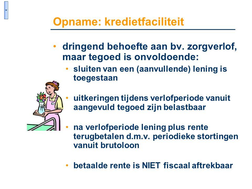 •dringend behoefte aan bv. zorgverlof, maar tegoed is onvoldoende: •sluiten van een (aanvullende) lening is toegestaan •uitkeringen tijdens verlofperi