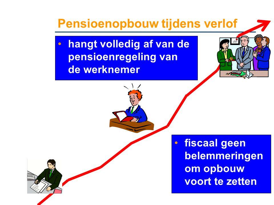 Pensioenopbouw tijdens verlof •hangt volledig af van de pensioenregeling van de werknemer •fiscaal geen belemmeringen om opbouw voort te zetten