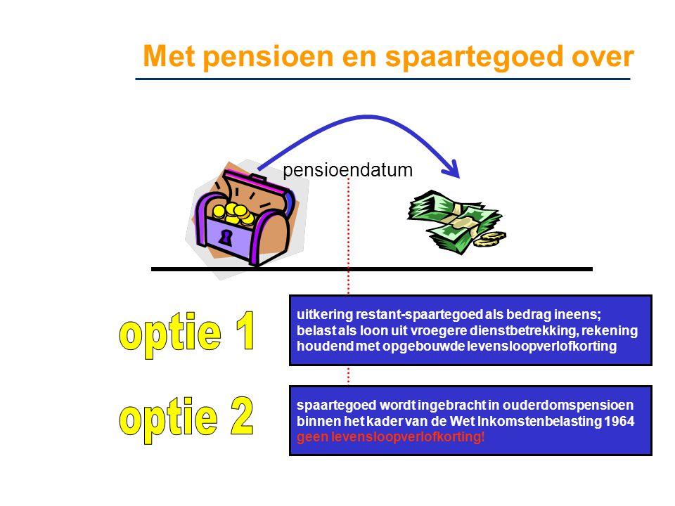 Met pensioen en spaartegoed over pensioendatum uitkering restant-spaartegoed als bedrag ineens; belast als loon uit vroegere dienstbetrekking, rekenin