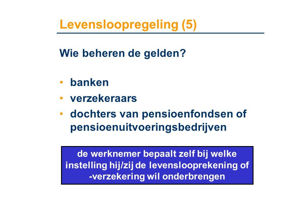 Levensloopregeling (5) Wie beheren de gelden? •banken •verzekeraars •dochters van pensioenfondsen of pensioenuitvoeringsbedrijven de werknemer bepaalt