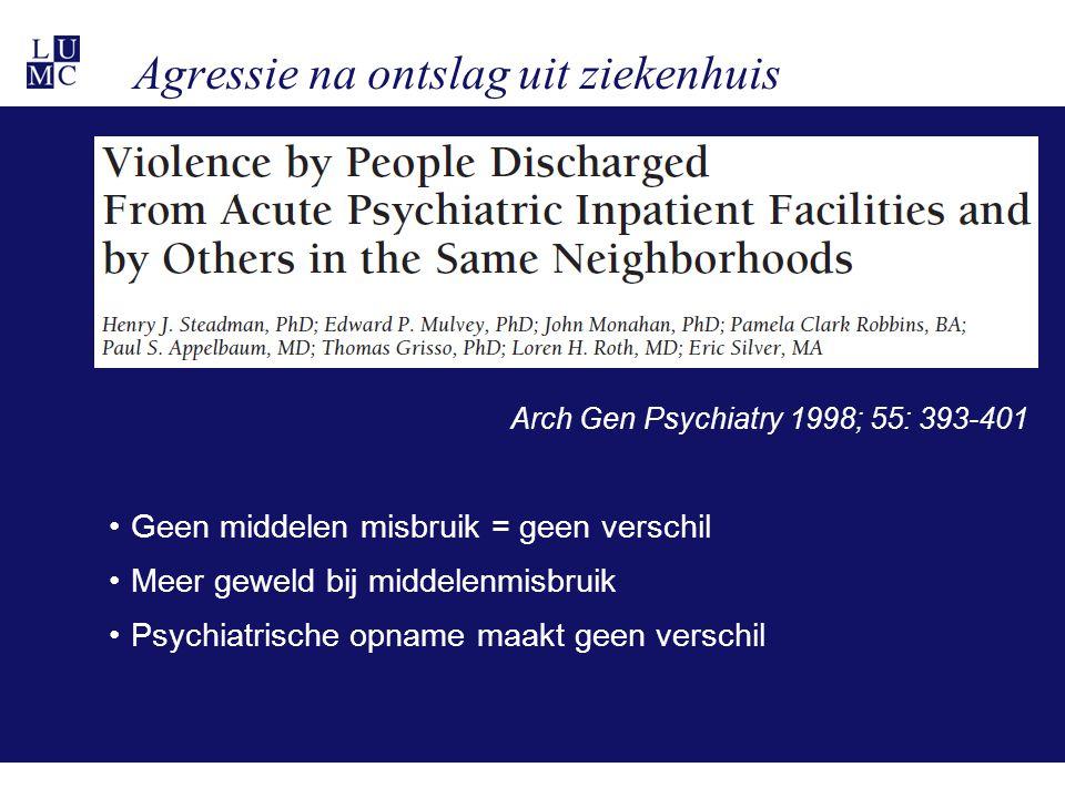 Agressie na ontslag uit ziekenhuis Arch Gen Psychiatry 1998; 55: 393-401 •Geen middelen misbruik = geen verschil •Meer geweld bij middelenmisbruik •Psychiatrische opname maakt geen verschil