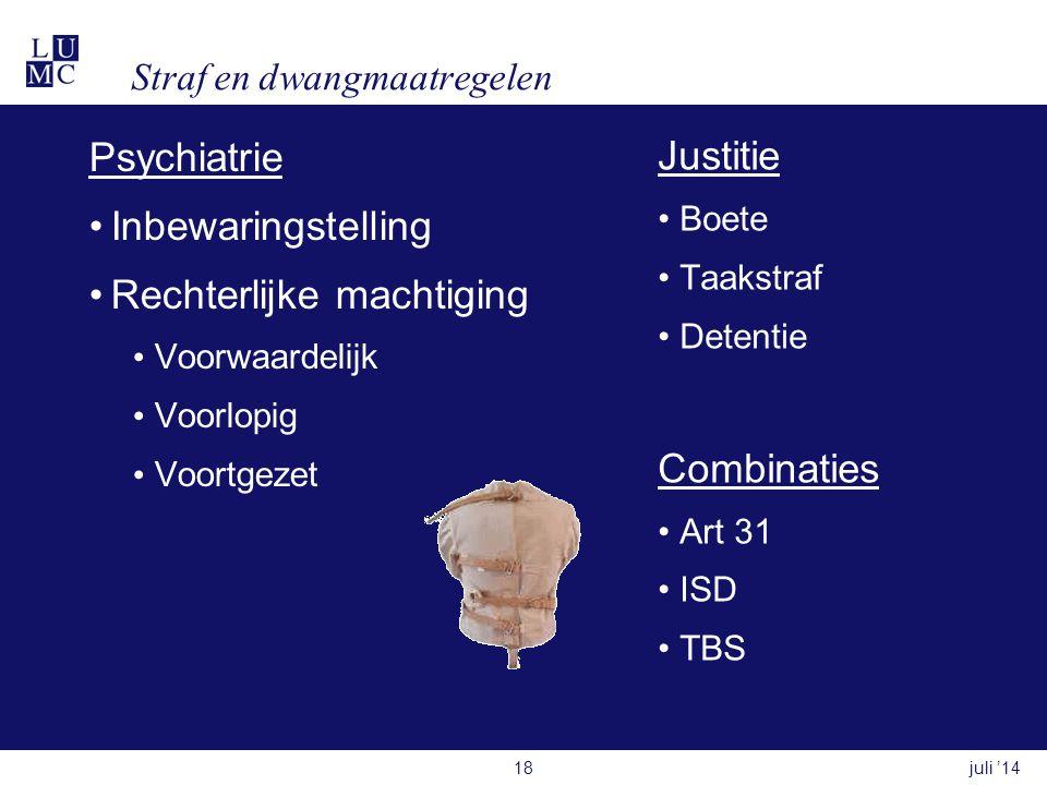 Straf en dwangmaatregelen Psychiatrie •Inbewaringstelling •Rechterlijke machtiging • Voorwaardelijk • Voorlopig • Voortgezet Justitie •Boete •Taakstraf •Detentie Combinaties •Art 31 •ISD •TBS juli '1418