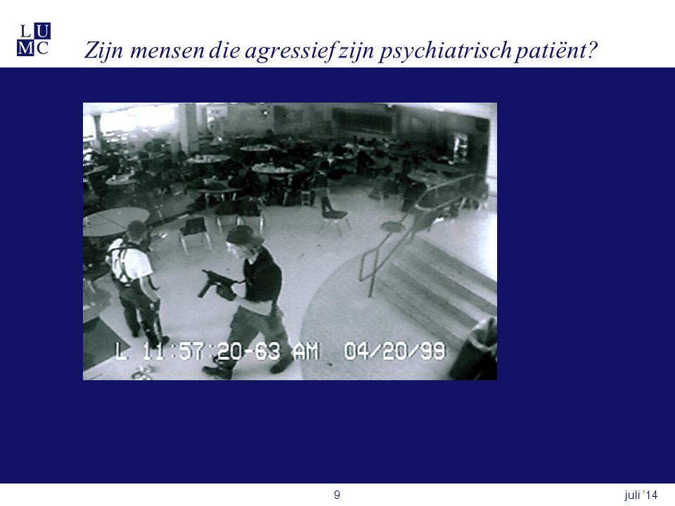 Zijn mensen die agressief zijn psychiatrisch patiënt? juli '149