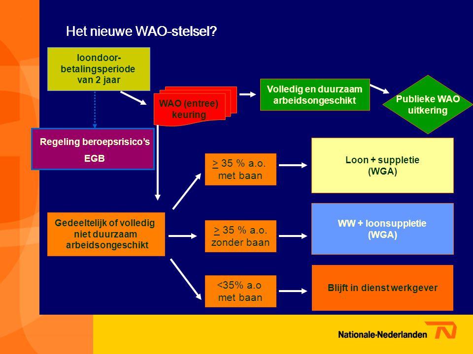 loondoor- betalingsperiode van 2 jaar Volledig en duurzaam arbeidsongeschikt WAO (entree) keuring Publieke WAO uitkering Gedeeltelijk of volledig niet duurzaam arbeidsongeschikt > 35 % a.o.