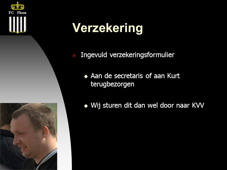 04-09-09 Verzekering  Ingevuld verzekeringsformulier  Aan de secretaris of aan Kurt terugbezorgen  Wij sturen dit dan wel door naar KVV