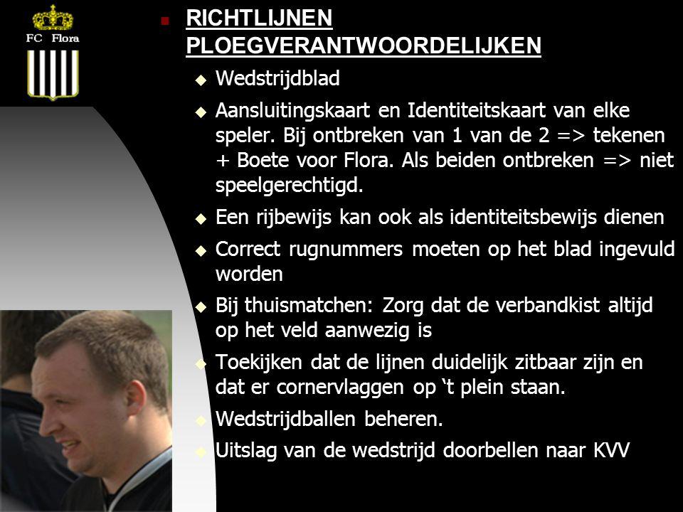 04-09-09  RICHTLIJNEN PLOEGVERANTWOORDELIJKEN  Wedstrijdblad  Aansluitingskaart en Identiteitskaart van elke speler.