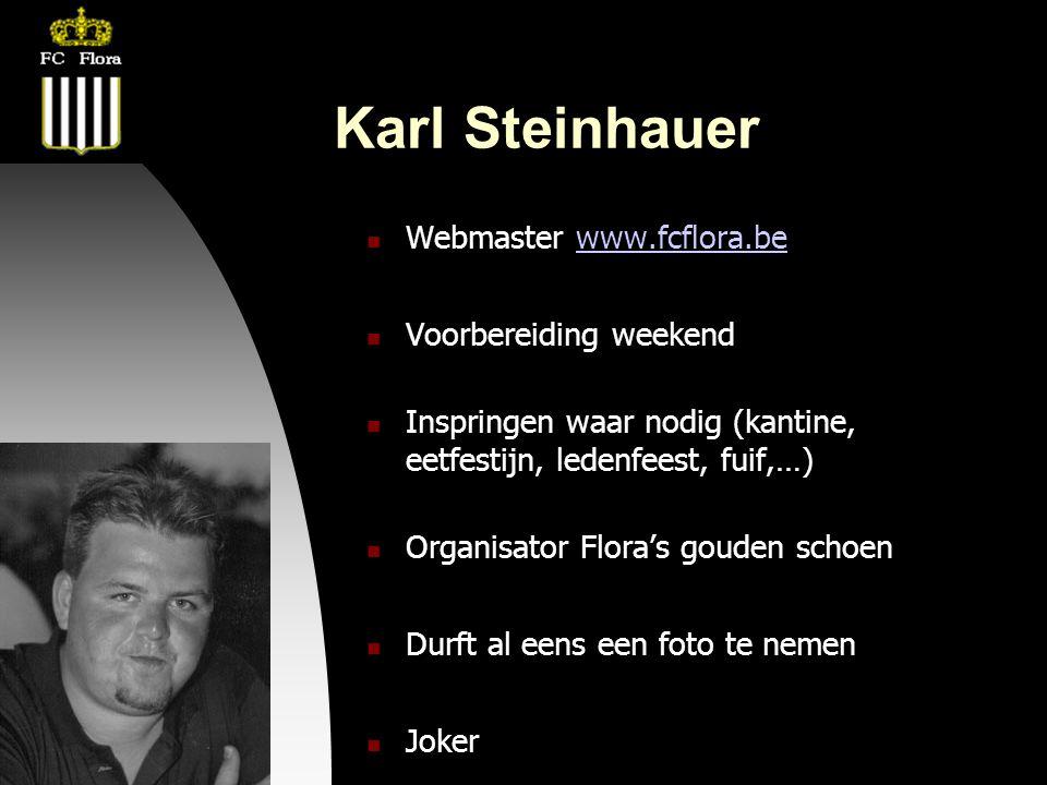 22-08-08 Karl Steinhauer  Webmaster www.fcflora.bewww.fcflora.be  Voorbereiding weekend  Inspringen waar nodig (kantine, eetfestijn, ledenfeest, fuif,…)  Organisator Flora's gouden schoen  Durft al eens een foto te nemen  Joker