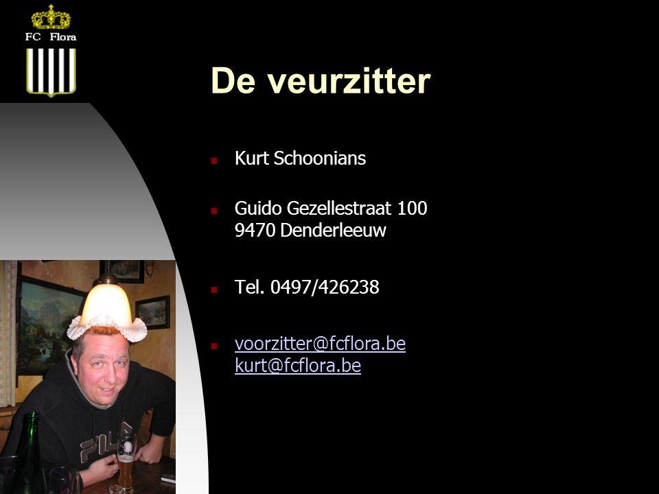 04-09-09 De veurzitter  Kurt Schoonians  Guido Gezellestraat 100 9470 Denderleeuw  Tel. 0497/426238  voorzitter@fcflora.be kurt@fcflora.be voorzit