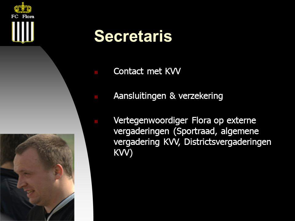 04-09-09 Secretaris  Contact met KVV  Aansluitingen & verzekering  Vertegenwoordiger Flora op externe vergaderingen (Sportraad, algemene vergaderin