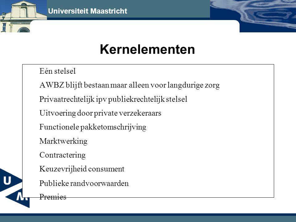 Universiteit Maastricht Kernelementen Eén stelsel AWBZ blijft bestaan maar alleen voor langdurige zorg Privaatrechtelijk ipv publiekrechtelijk stelsel Uitvoering door private verzekeraars Functionele pakketomschrijving Marktwerking Contractering Keuzevrijheid consument Publieke randvoorwaarden Premies