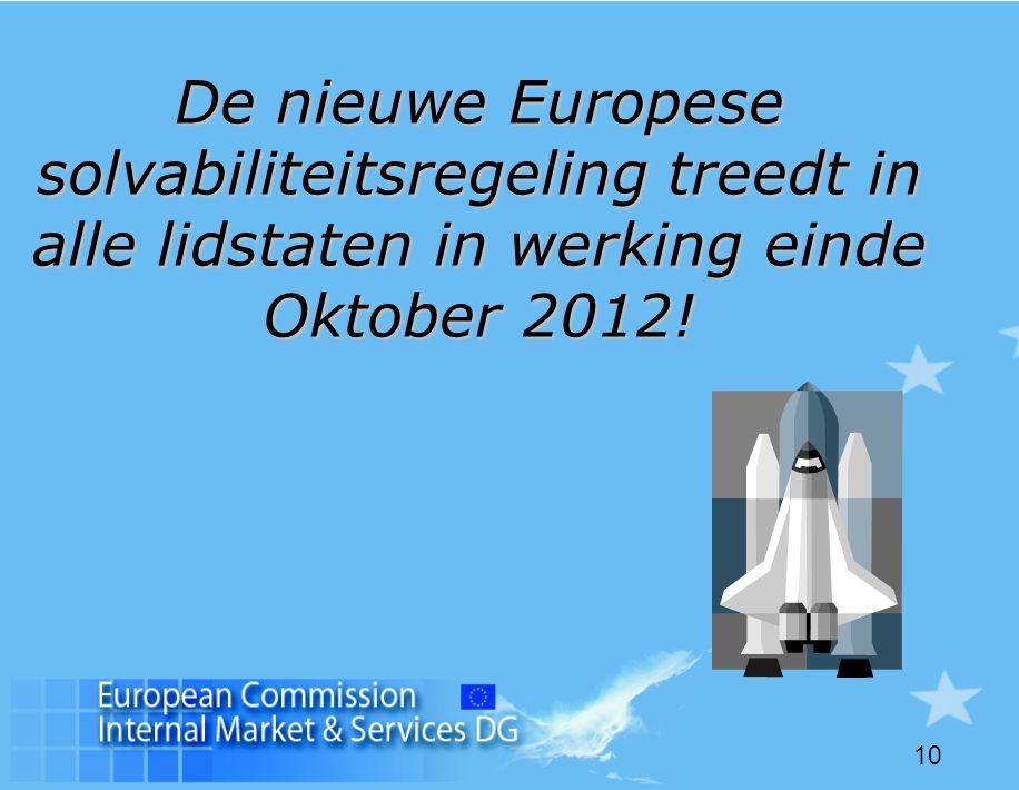 10 De nieuwe Europese solvabiliteitsregeling treedt in alle lidstaten in werking einde Oktober 2012!