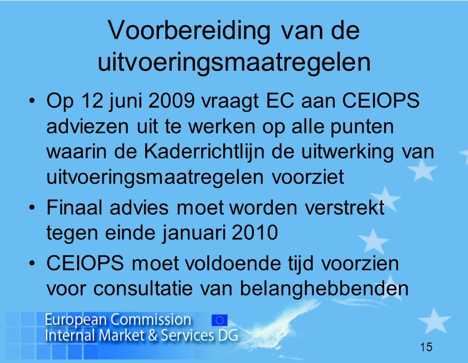 15 Voorbereiding van de uitvoeringsmaatregelen •Op 12 juni 2009 vraagt EC aan CEIOPS adviezen uit te werken op alle punten waarin de Kaderrichtlijn de uitwerking van uitvoeringsmaatregelen voorziet •Finaal advies moet worden verstrekt tegen einde januari 2010 •CEIOPS moet voldoende tijd voorzien voor consultatie van belanghebbenden