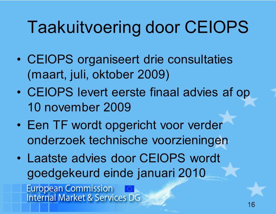 16 Taakuitvoering door CEIOPS •CEIOPS organiseert drie consultaties (maart, juli, oktober 2009) •CEIOPS levert eerste finaal advies af op 10 november 2009 •Een TF wordt opgericht voor verder onderzoek technische voorzieningen •Laatste advies door CEIOPS wordt goedgekeurd einde januari 2010
