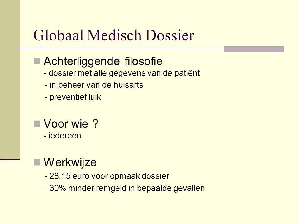 Globaal Medisch Dossier  Achterliggende filosofie - dossier met alle gegevens van de patiënt - in beheer van de huisarts - preventief luik  Voor wie .