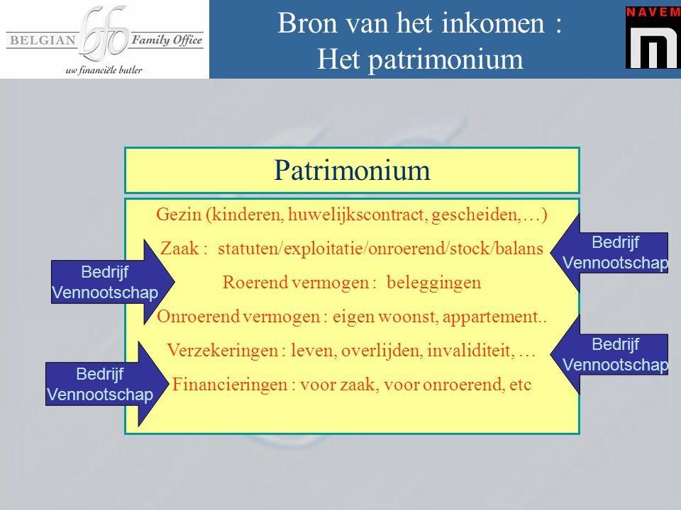 Bron van het inkomen : Het patrimonium Patrimonium Gezin (kinderen, huwelijkscontract, gescheiden,…) Zaak : statuten/exploitatie/onroerend/stock/balan