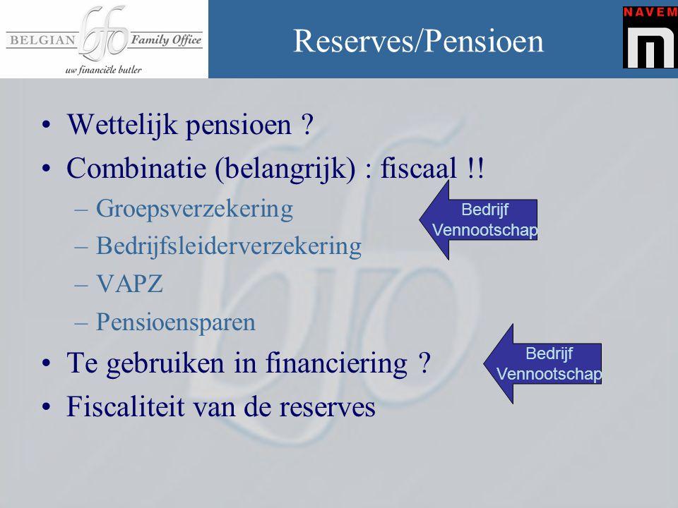 Reserves/Pensioen •Wettelijk pensioen ? •Combinatie (belangrijk) : fiscaal !! –Groepsverzekering –Bedrijfsleiderverzekering –VAPZ –Pensioensparen •Te