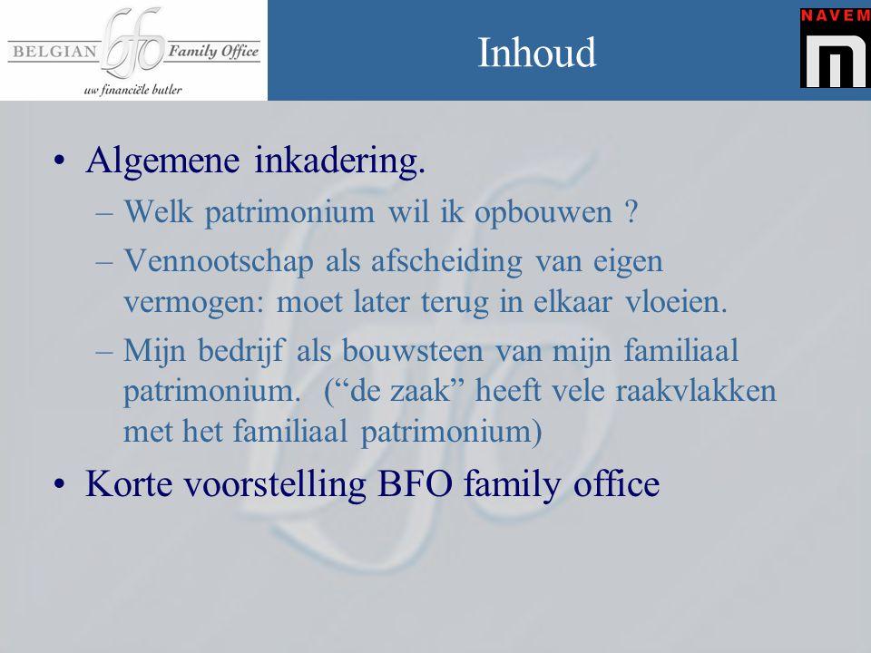 Privé Secretariaat B.F.O •Sterk groeiend Privé Secretariaat met bijna 100 gepecialiseerde werknemers • Onafhankelijk vertrouwens persoon die naast u staat en u helpt bij elke beslissing die invloed heeft op uw patrimonium. •Gegroeid vanuit Kortrijk, actief over gans België •Expertise : samen met Absciss –Hooggeschoold en steeds studerend •Ruim 15 jaar activiteit (Absciss-BFO) met honderden jaren gebundelde ervaring.