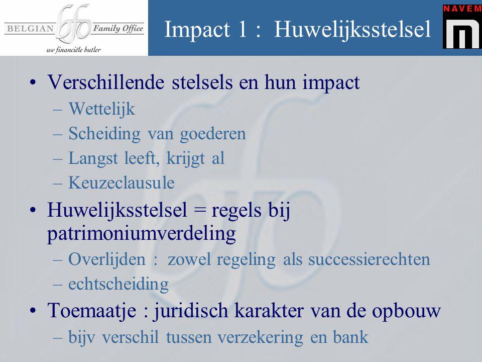Impact 1 : Huwelijksstelsel •Verschillende stelsels en hun impact –Wettelijk –Scheiding van goederen –Langst leeft, krijgt al –Keuzeclausule •Huwelijk