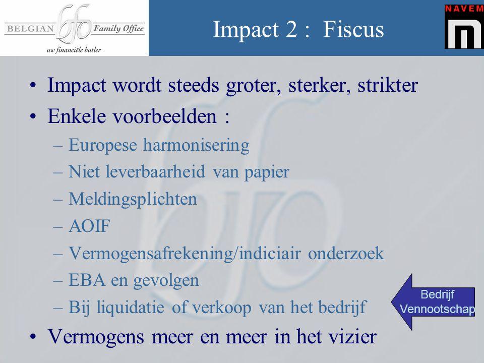 Impact 2 : Fiscus •Impact wordt steeds groter, sterker, strikter •Enkele voorbeelden : –Europese harmonisering –Niet leverbaarheid van papier –Melding