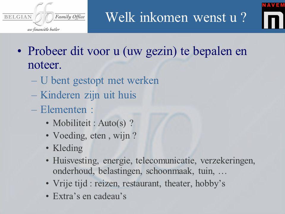 Enkele richtlijnen •Wie aangenaam wil leven : –Als je minder noteert dan 30.000 € : eerder aan de zuinigere kant.