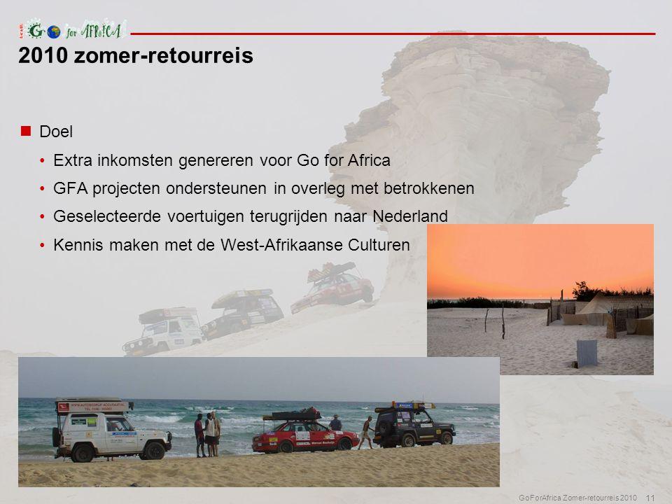 11 GoForAfrica Zomer-retourreis 2010  Doel •Extra inkomsten genereren voor Go for Africa •GFA projecten ondersteunen in overleg met betrokkenen •Geselecteerde voertuigen terugrijden naar Nederland •Kennis maken met de West-Afrikaanse Culturen 2010 zomer-retourreis