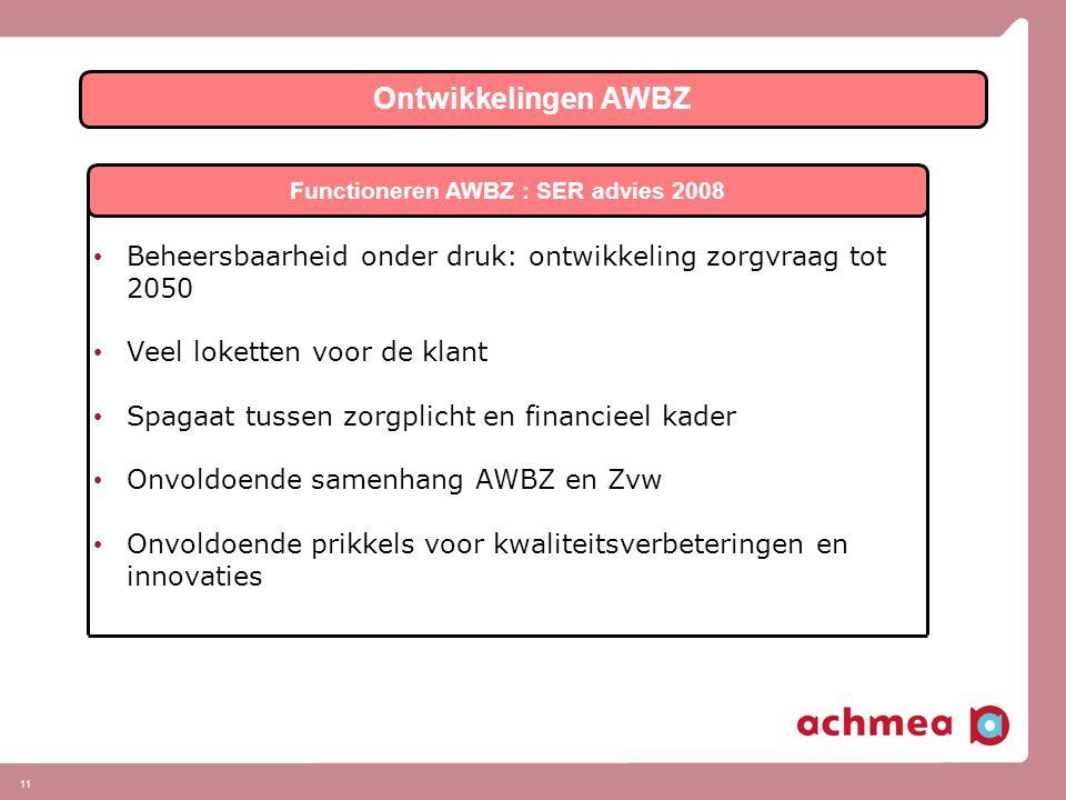 11 Ontwikkelingen AWBZ Functioneren AWBZ : SER advies 2008 • Beheersbaarheid onder druk: ontwikkeling zorgvraag tot 2050 • Veel loketten voor de klant • Spagaat tussen zorgplicht en financieel kader • Onvoldoende samenhang AWBZ en Zvw • Onvoldoende prikkels voor kwaliteitsverbeteringen en innovaties