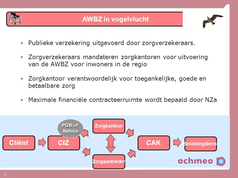 16 • Uitvoering AWBZ door verzekeraars, de voordelen: • samenhang cure en care: inkoopkracht voor doelgroepgerichte geïntegreerde ketenzorg • 1 loket: alle informatie over verzekerde zorg op 1 plek • directe relatie, betere service: actieve ondersteuning, bijv.