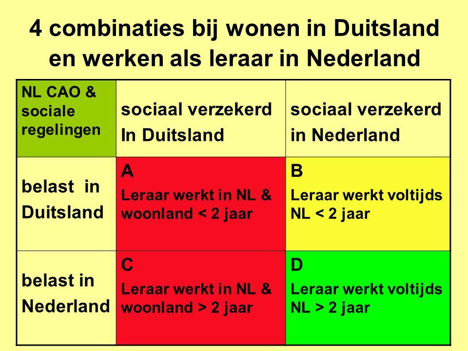 4 combinaties bij wonen in Duitsland en werken als leraar in Nederland NL CAO & sociale regelingen sociaal verzekerd In Duitsland sociaal verzekerd in Nederland belast in Duitsland A Leraar werkt in NL & woonland < 2 jaar B Leraar werkt voltijds NL < 2 jaar belast in Nederland C Leraar werkt in NL & woonland > 2 jaar D Leraar werkt voltijds NL > 2 jaar