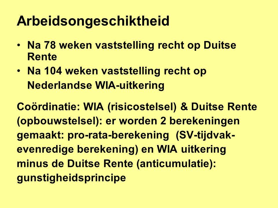 Arbeidsongeschiktheid •Na 78 weken vaststelling recht op Duitse Rente •Na 104 weken vaststelling recht op Nederlandse WIA-uitkering Coördinatie: WIA (risicostelsel) & Duitse Rente (opbouwstelsel): er worden 2 berekeningen gemaakt: pro-rata-berekening (SV-tijdvak- evenredige berekening) en WIA uitkering minus de Duitse Rente (anticumulatie): gunstigheidsprincipe