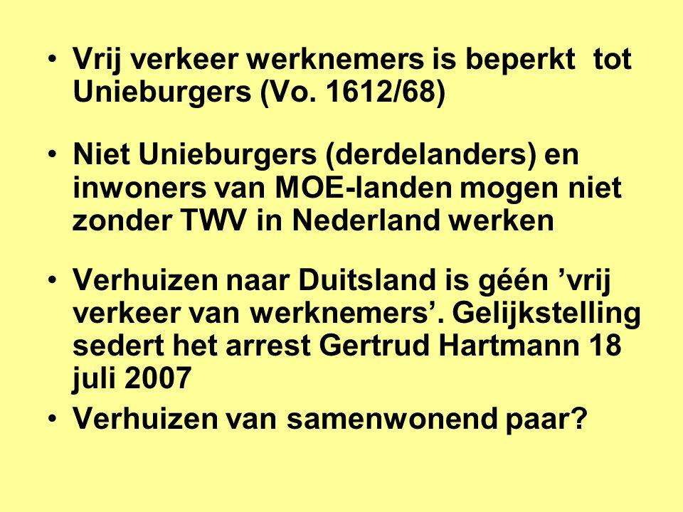 •Vrij verkeer werknemers is beperkt tot Unieburgers (Vo.