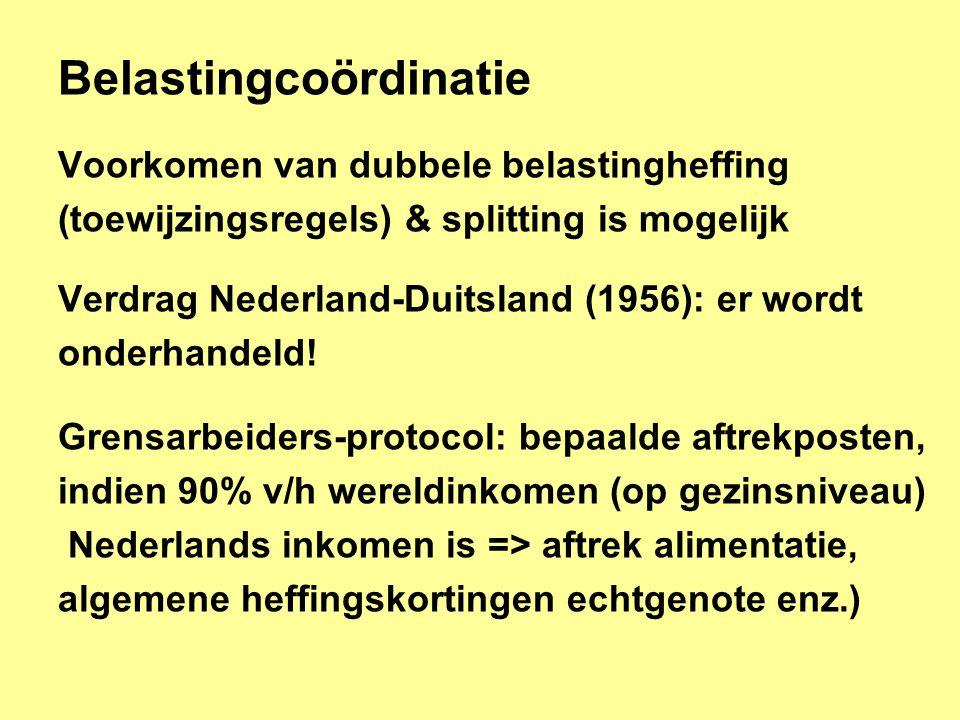 Belastingcoördinatie Voorkomen van dubbele belastingheffing (toewijzingsregels) & splitting is mogelijk Verdrag Nederland-Duitsland (1956): er wordt onderhandeld.