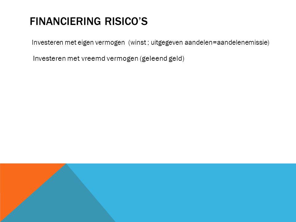 FINANCIERING RISICO'S Investeren met eigen vermogen (winst ; uitgegeven aandelen=aandelenemissie) Investeren met vreemd vermogen (geleend geld)