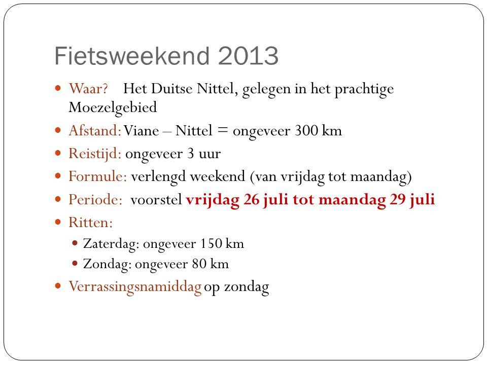 Fietsweekend 2013  Waar? Het Duitse Nittel, gelegen in het prachtige Moezelgebied  Afstand: Viane – Nittel = ongeveer 300 km  Reistijd: ongeveer 3
