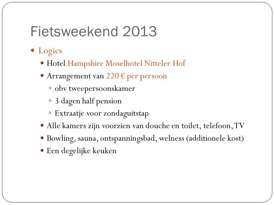 Fietsweekend 2013  Logies  Hotel Hampshire Moselhotel Nitteler Hof  Arrangement van 220 € per persoon  obv tweepersoonskamer  3 dagen half pensio