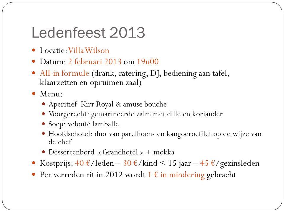 Ledenfeest 2013  Locatie: Villa Wilson  Datum: 2 februari 2013 om 19u00  All-in formule (drank, catering, DJ, bediening aan tafel, klaarzetten en o