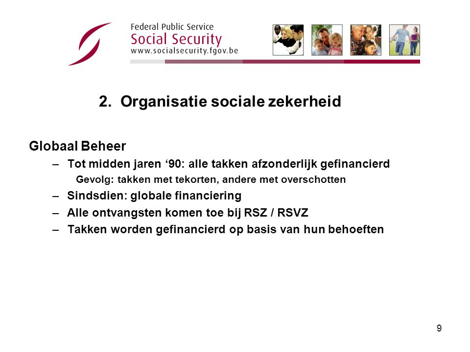 8 2. Organisatie sociale zekerheid 1.Globaal Beheer Werknemers 2.Globaal Beheer Zelfstandigen 3.Buiten Globaal Beheer 4.Ambtenarenpensioenen