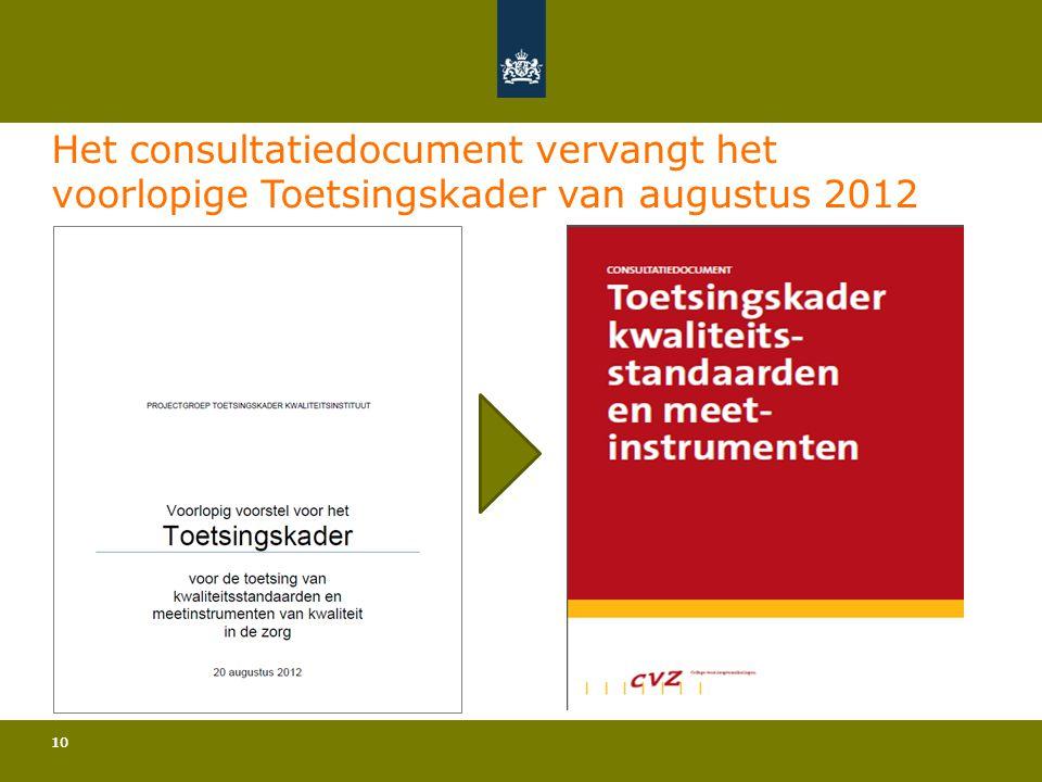 10 Het consultatiedocument vervangt het voorlopige Toetsingskader van augustus 2012