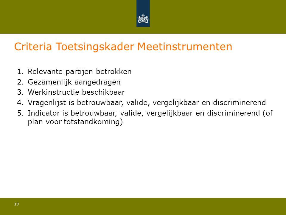 13 Criteria Toetsingskader Meetinstrumenten 1.Relevante partijen betrokken 2.Gezamenlijk aangedragen 3.Werkinstructie beschikbaar 4.Vragenlijst is bet