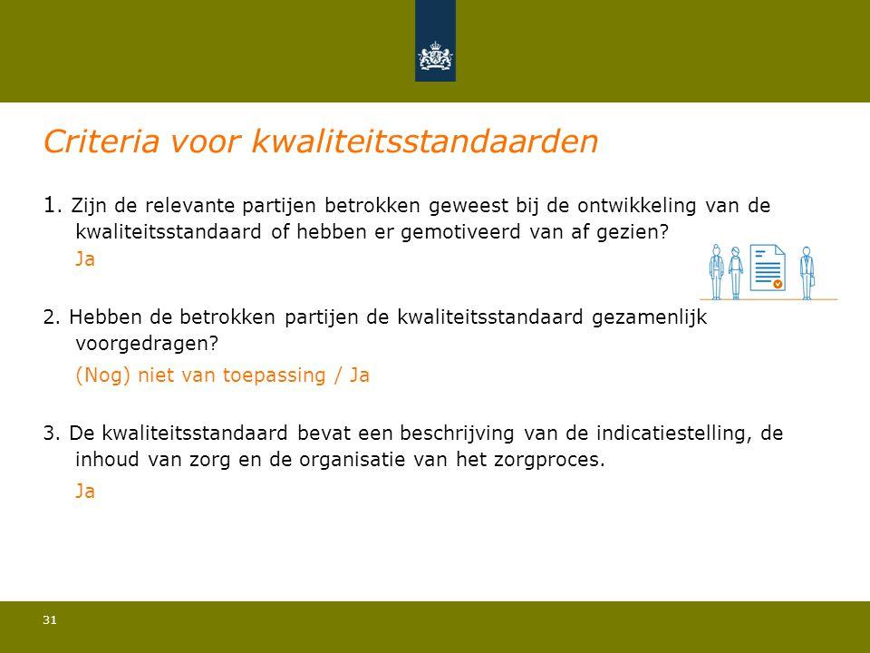 31 Criteria voor kwaliteitsstandaarden 1. Zijn de relevante partijen betrokken geweest bij de ontwikkeling van de kwaliteitsstandaard of hebben er gem
