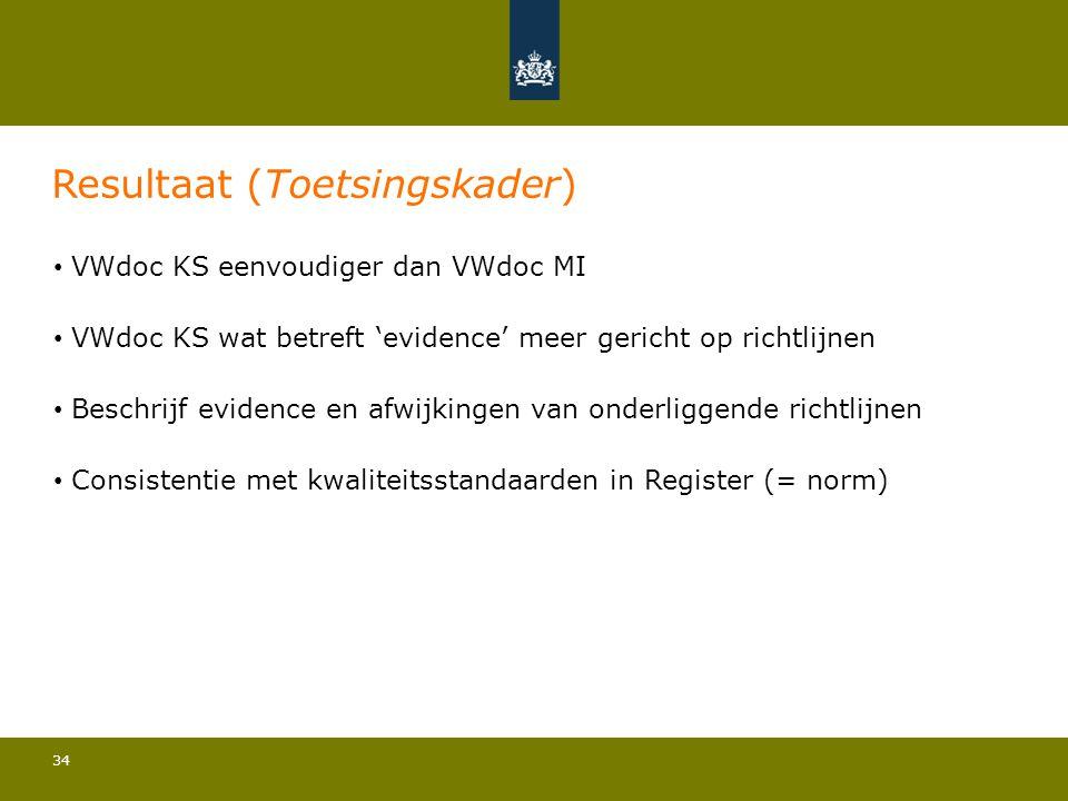 34 Resultaat (Toetsingskader) • VWdoc KS eenvoudiger dan VWdoc MI • VWdoc KS wat betreft 'evidence' meer gericht op richtlijnen • Beschrijf evidence e