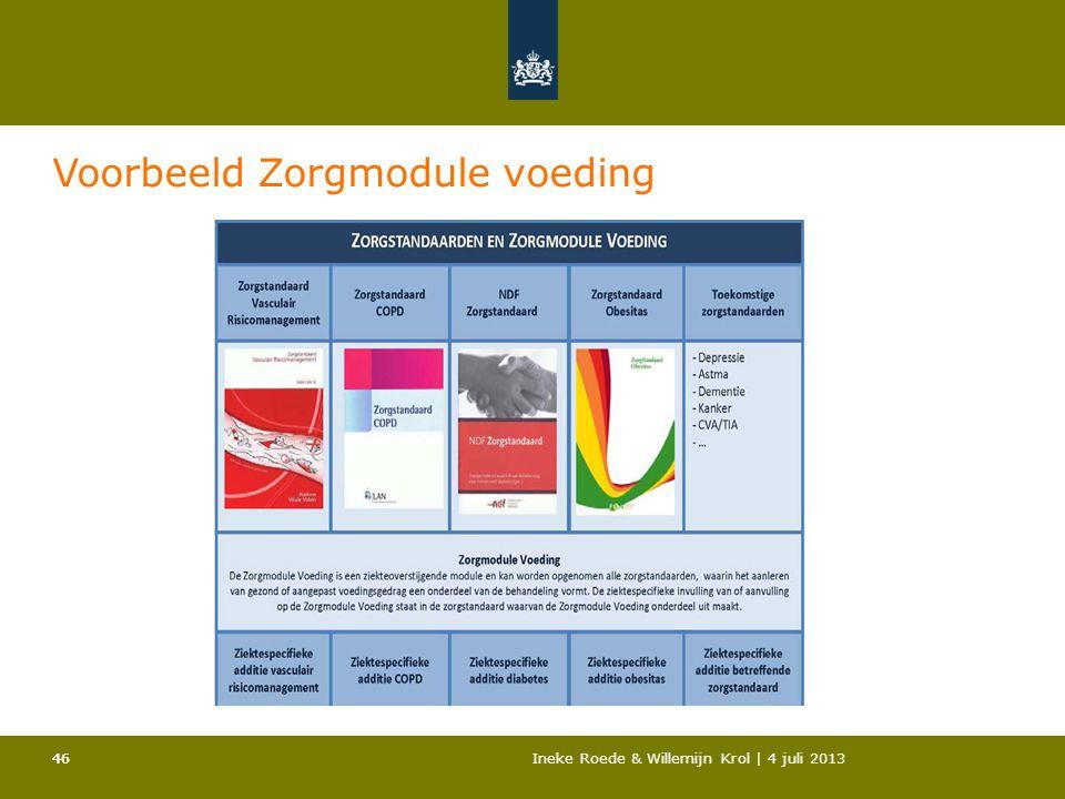 46Ineke Roede & Willemijn Krol | 4 juli 201346 Voorbeeld Zorgmodule voeding