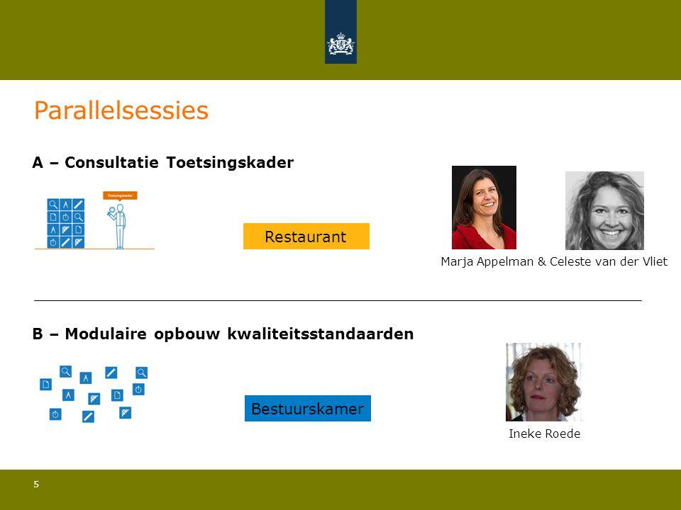 5 A – Consultatie Toetsingskader Marja Appelman & Celeste van der Vliet B – Modulaire opbouw kwaliteitsstandaarden Ineke Roede Parallelsessies Bestuur