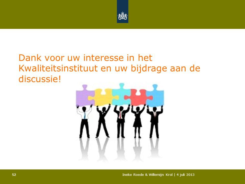 52Ineke Roede & Willemijn Krol | 4 juli 201352 Dank voor uw interesse in het Kwaliteitsinstituut en uw bijdrage aan de discussie!
