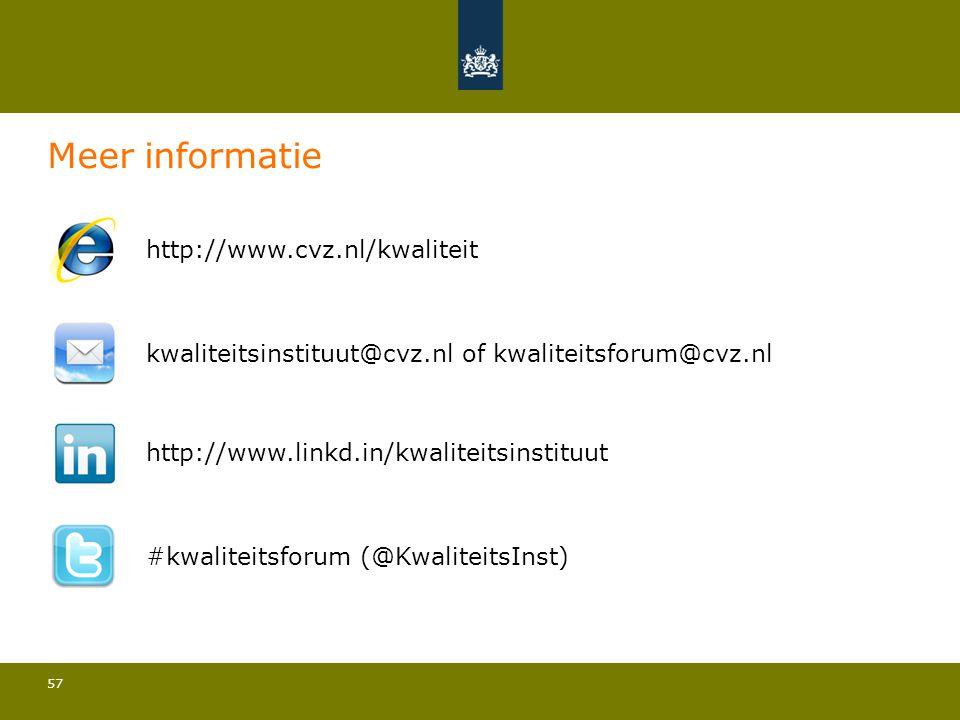 57 Meer informatie http://www.cvz.nl/kwaliteit kwaliteitsinstituut@cvz.nl of kwaliteitsforum@cvz.nl http://www.linkd.in/kwaliteitsinstituut #kwaliteit