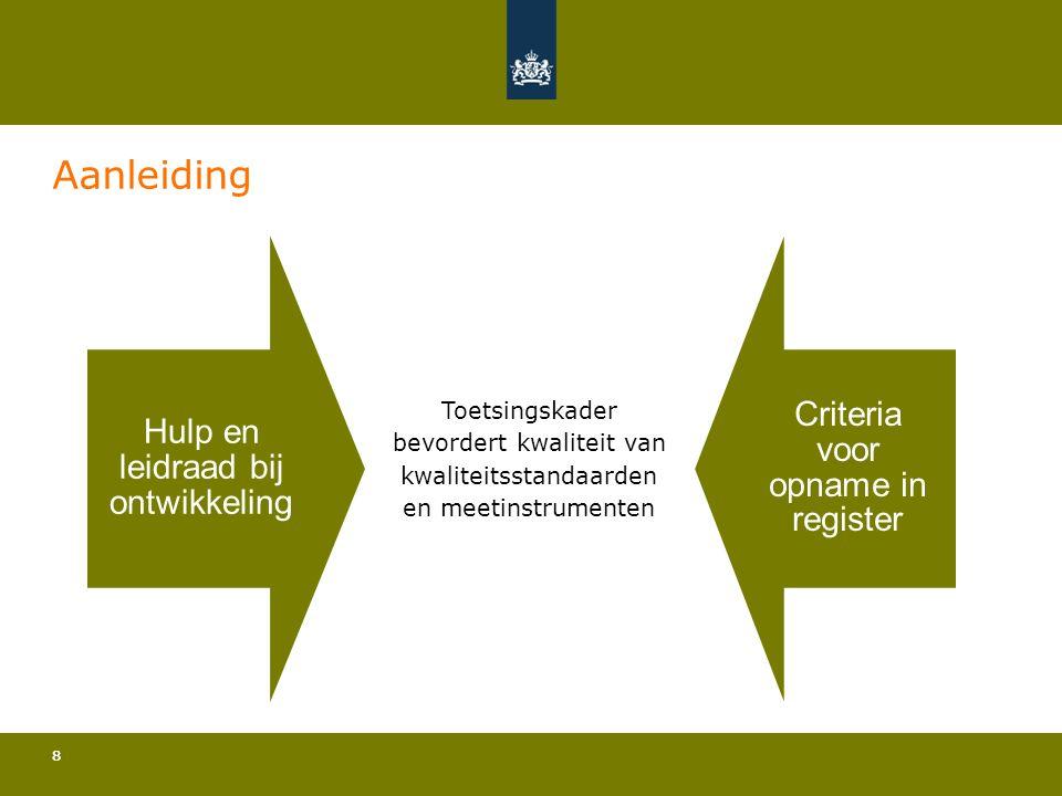 88 Aanleiding Hulp en leidraad bij ontwikkeling Criteria voor opname in register Toetsingskader bevordert kwaliteit van kwaliteitsstandaarden en meeti