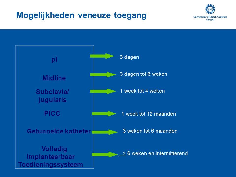 Mogelijkheden veneuze toegang 3 dagen 3 dagen tot 6 weken 1 week tot 4 weken 1 week tot 12 maanden 3 weken tot 6 maanden > 6 weken en intermitterend p