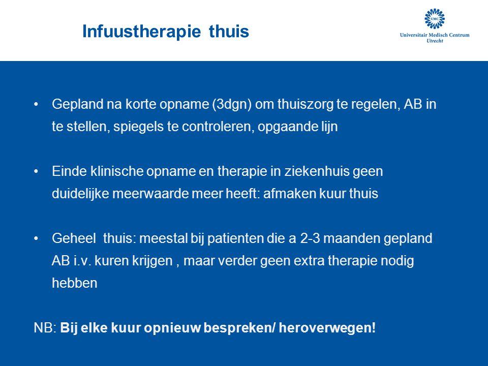 Infuustherapie thuis •Gepland na korte opname (3dgn) om thuiszorg te regelen, AB in te stellen, spiegels te controleren, opgaande lijn •Einde klinisch