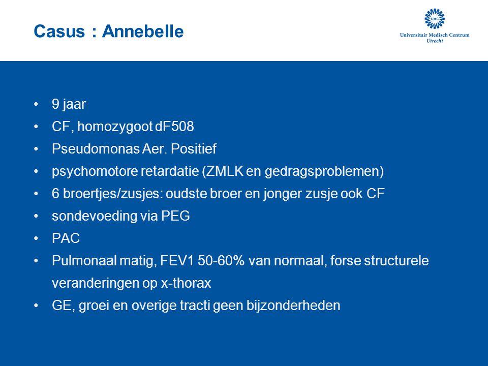 Casus : Annebelle •9 jaar •CF, homozygoot dF508 •Pseudomonas Aer. Positief •psychomotore retardatie (ZMLK en gedragsproblemen) •6 broertjes/zusjes: ou