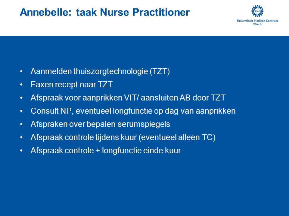 Annebelle: taak Nurse Practitioner •Aanmelden thuiszorgtechnologie (TZT) •Faxen recept naar TZT •Afspraak voor aanprikken VIT/ aansluiten AB door TZT