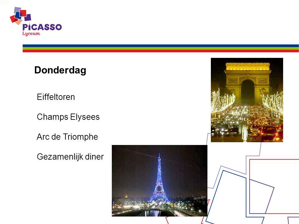 Donderdag Eiffeltoren Champs Elysees Arc de Triomphe Gezamenlijk diner